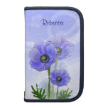 Personalized Blue Anemone floral Folio Planner