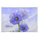 Personalized Blue Anemone floral Placemat