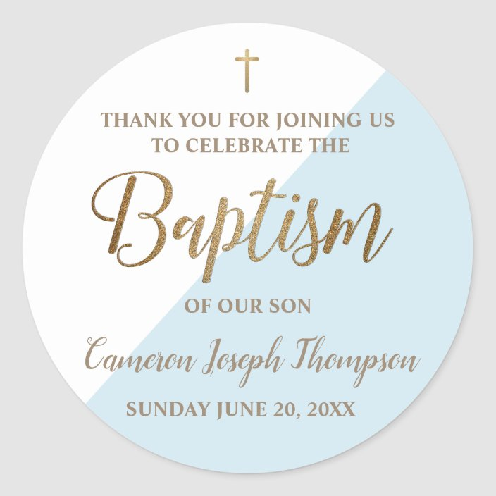 Personalized Blue Baby Boy Baptism Thank You Classic Round Sticker Zazzle Com