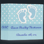 """Personalized Blue Baby Boy Footprints Photo Album 3 Ring Binder<br><div class=""""desc"""">Personalized Blue Baby Boy Footprints Photo Album All you have to do to make this album the most unique gift ever is to add the name of the baby,  his date of birth,  and his initials.</div>"""