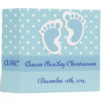 Personalized Blue Baby Boy Footprints Photo Album 3 Ring Binder