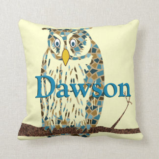 Personalized Blue Baby Boy Vintage Owl Pillow