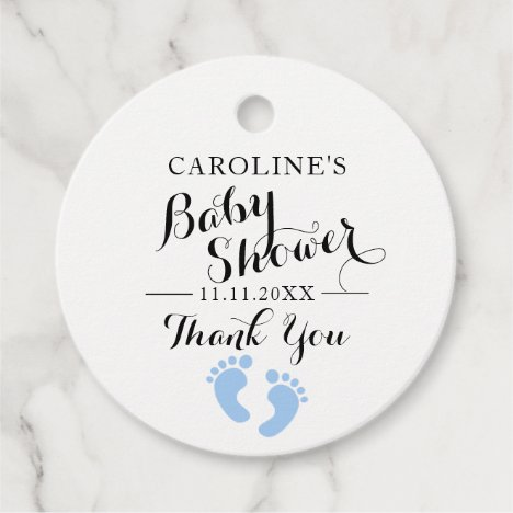 Personalized Blue Baby Feet BOY Baby Shower Favor Tags