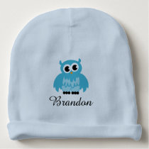 Personalized blue baby hat with cute owl bird