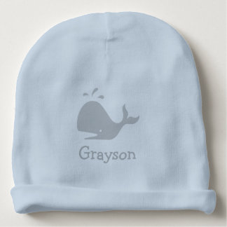 Personalized blue baby hat with cute whale logo