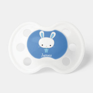 Personalized Blue Baby Pacifiers With Cute Bunny