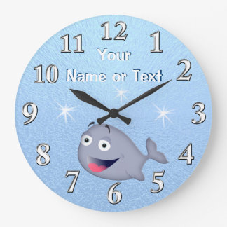 Personalized Blue Baby Whale Clocks