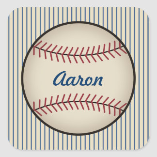 Personalized Blue Baseball Stickers