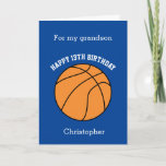 """Personalized Blue Basketball Card<br><div class=""""desc"""">A blue basketball birthday card,  which you can easily personalize with his name and age if it's a different age. The inside reads a birthday message,  which you can easily edit as well. You can personalize the back of this basketball birthday card with the year. Great for basketball lovers.</div>"""