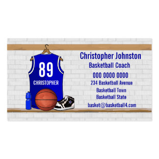 Personalized Blue Basketball Jersey Business Card Template
