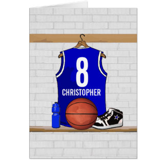 Personalized Blue Basketball Jersey Greeting Cards
