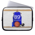 Personalized blue Basketball Jersey Computer Sleeves