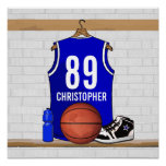 Personalized Blue Basketball Jersey Posters