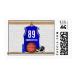Personalized Blue Basketball Jersey Stamp