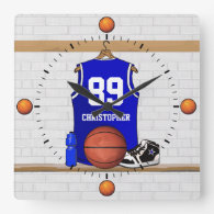 Personalized Blue Basketball Jersey Wall Clocks