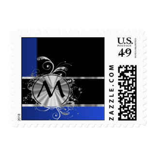 Personalized blue black and silver monogram postage
