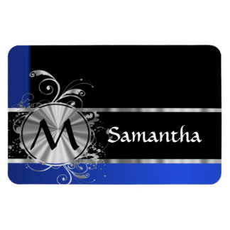 Personalized blue black and silver monogram rectangular photo magnet