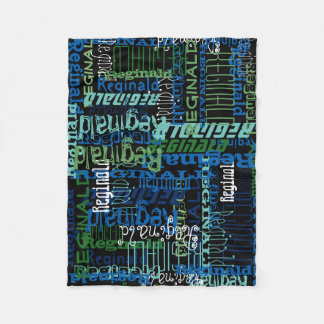 Personalized Blue/Black Custom Name Collage Boy's Fleece Blanket