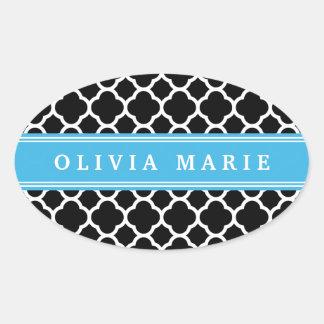 Personalized Blue Black Quatrefoil Pattern Oval Sticker