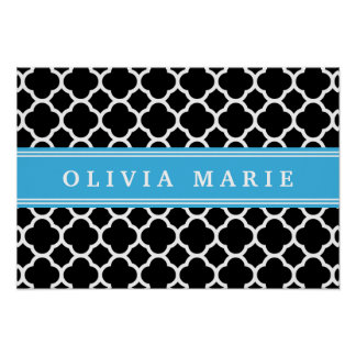 Personalized Blue Black Quatrefoil Pattern Poster