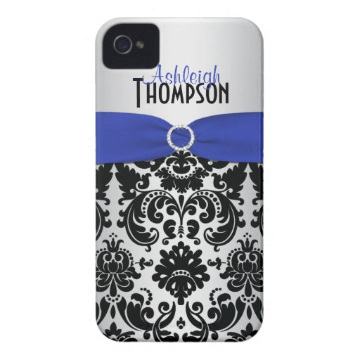 Personalized Blue, Black, Silver Damask iPhone 4 Case-Mate Cases