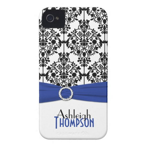 Personalized Blue, Black, White Damask Case-Mate iPhone 4 Cases