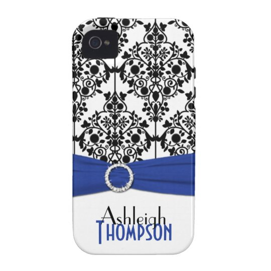 Personalized Blue, Black, White Damask Vibe iPhone 4 Cover