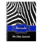 Personalized Blue Black White Zebra Stripe Journal Spiral Note Book