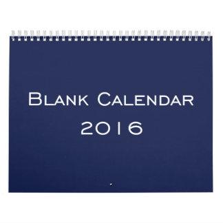Personalized Blue Blank Calendar 2016