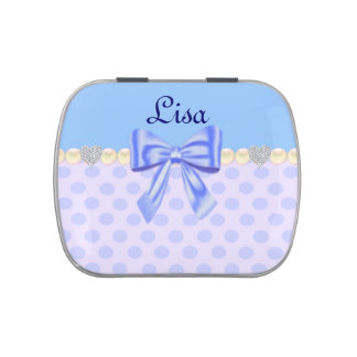 Personalized Blue Bow Polka Dot Candy Tin