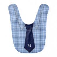 Personalized Blue Boy's Shirt Tie Funny Cute Baby Bibs