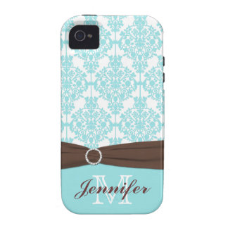 Personalized Blue, Brown, White Damask iPhone 4 iPhone 4/4S Case