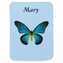 Personalized Blue Butterfly Baby Blanket