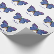 Personalized Blue Butterfly Girls Birthday Wrapping Paper