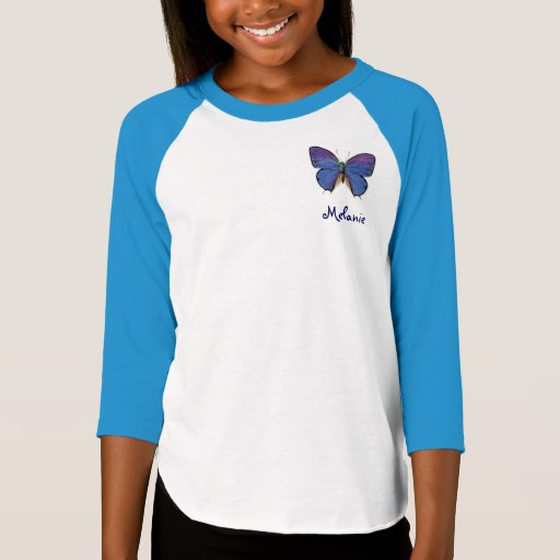 Personalized blue butterfly t shirt zazzle for Zazzle custom t shirts