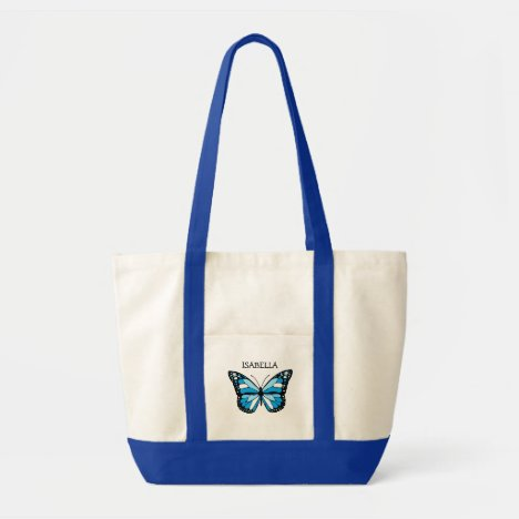 Personalized Blue Butterfly Tote Bag