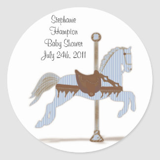 Personalized Blue Carousel Horse Sticker