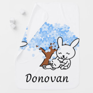 Personalized Blue Cherry Blossom Bunny Swaddle Blanket