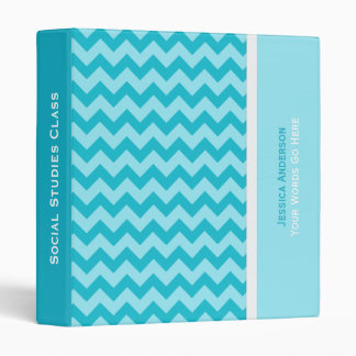 Personalized: Blue Chevron Binder