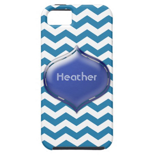 Personalized Blue Chevron Custom 2nd Color Case iPhone 5 Cover