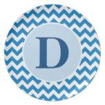 Personalized Blue Chevron Plate