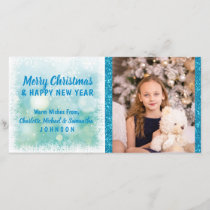 Personalized Blue Christmas / New Year   PHOTO Holiday Card