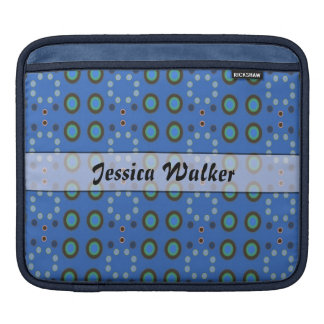 Personalized blue circle pattern sleeve for iPads