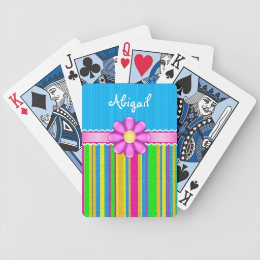 Personalized Blue Colorful Flower Playing Cards
