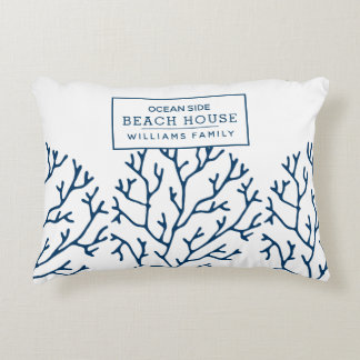 Personalized Blue Coral Pattern - Beach House Accent Pillow