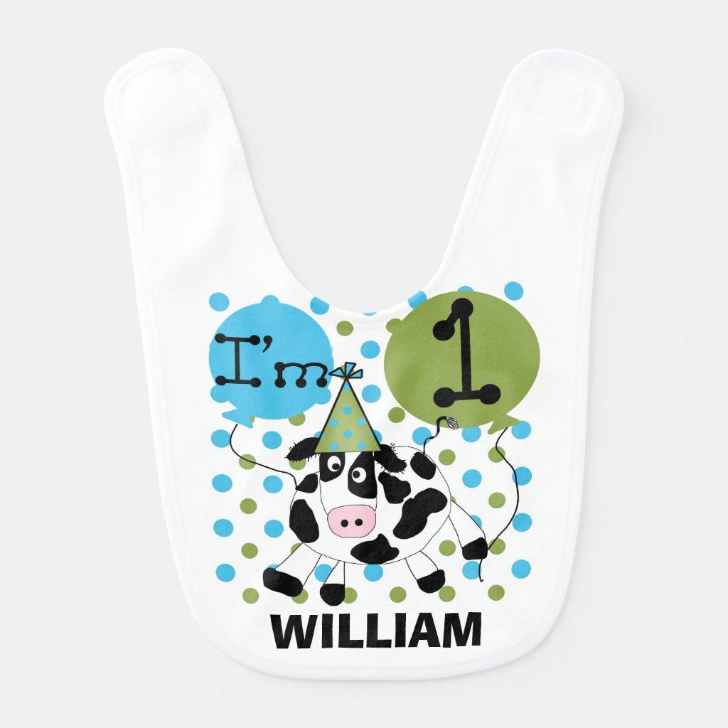 Personalized Blue Cow 1st Birthday Bib