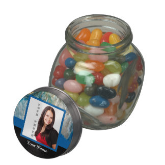 Personalized blue crystal template glass candy jar