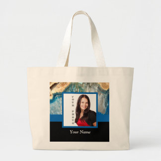 Personalized blue crystal template large tote bag
