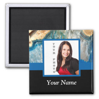 Personalized blue crystal template magnet