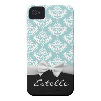Personalized Blue damask with white ribbon iPhone 4 Cases
